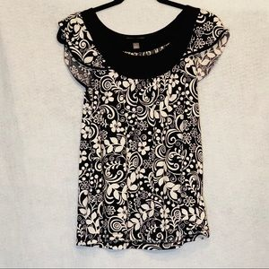 Apt 9 Small Top Black White Floral Cap Sleeve